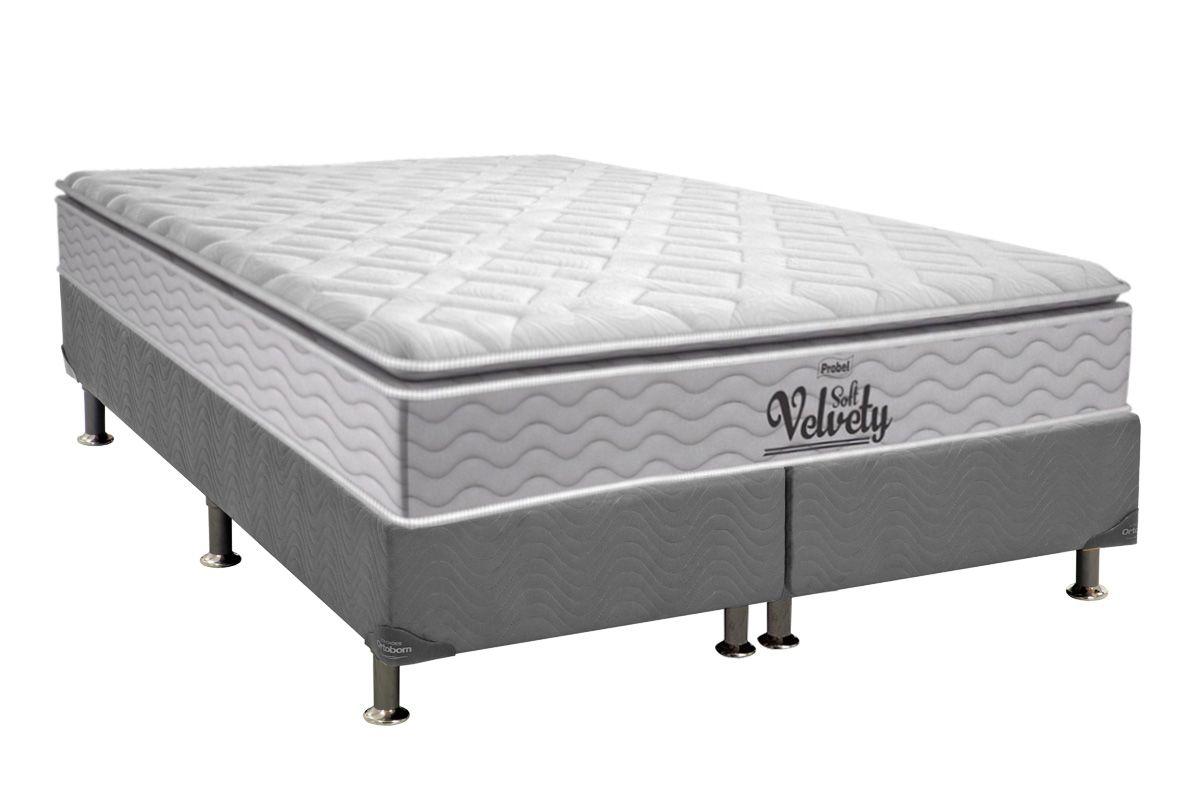 Conjunto Cama Box - Colchão Probel de Mola Pocket Velvety Soft Pillow Top + Cama Box Universal Nobuck Cinza