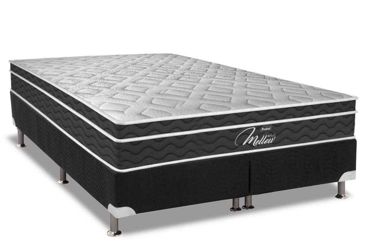 Conjunto Cama Box - Colchão Probel de Mola Pocket Mellow Soft Pillow Euro + Cama Box Universal Nobuck Nero Black