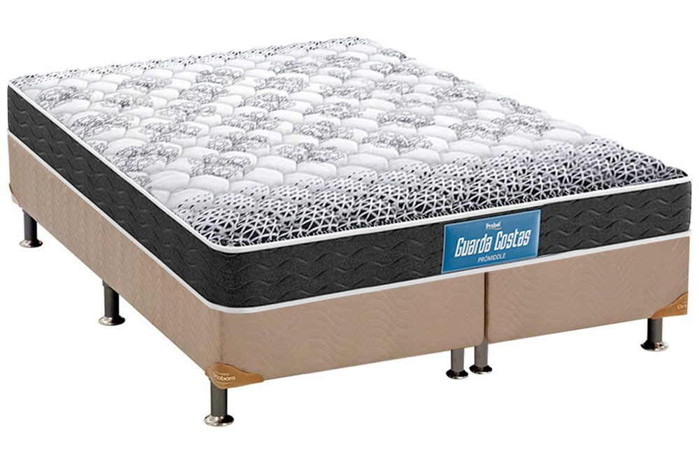 Conjunto Cama Box - Colchão  Probel de Espuma Guarda Costas Plus D28 + Cama Box Universal Nobuck Bege Crema