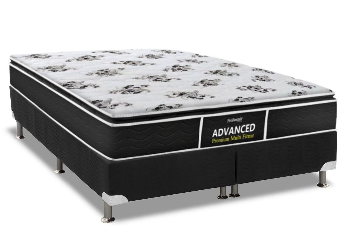 Conjunto Cama Box - Colchão Probel de Espuma D28 ProDormir Advanced Premium Multi Firme Pillow Top + Cama Box Universal Nobuck Nero Black