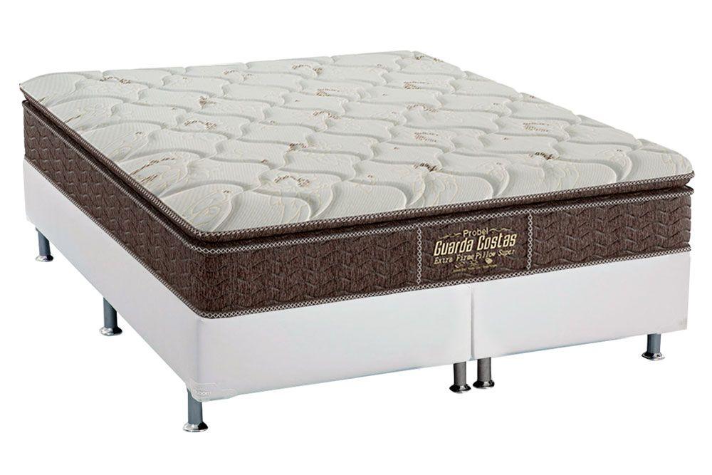 Conjunto Cama Box - Colchão Probel de Espuma Guarda Costas Extra Firme Pillow Top + Cama Box Universal Courino White