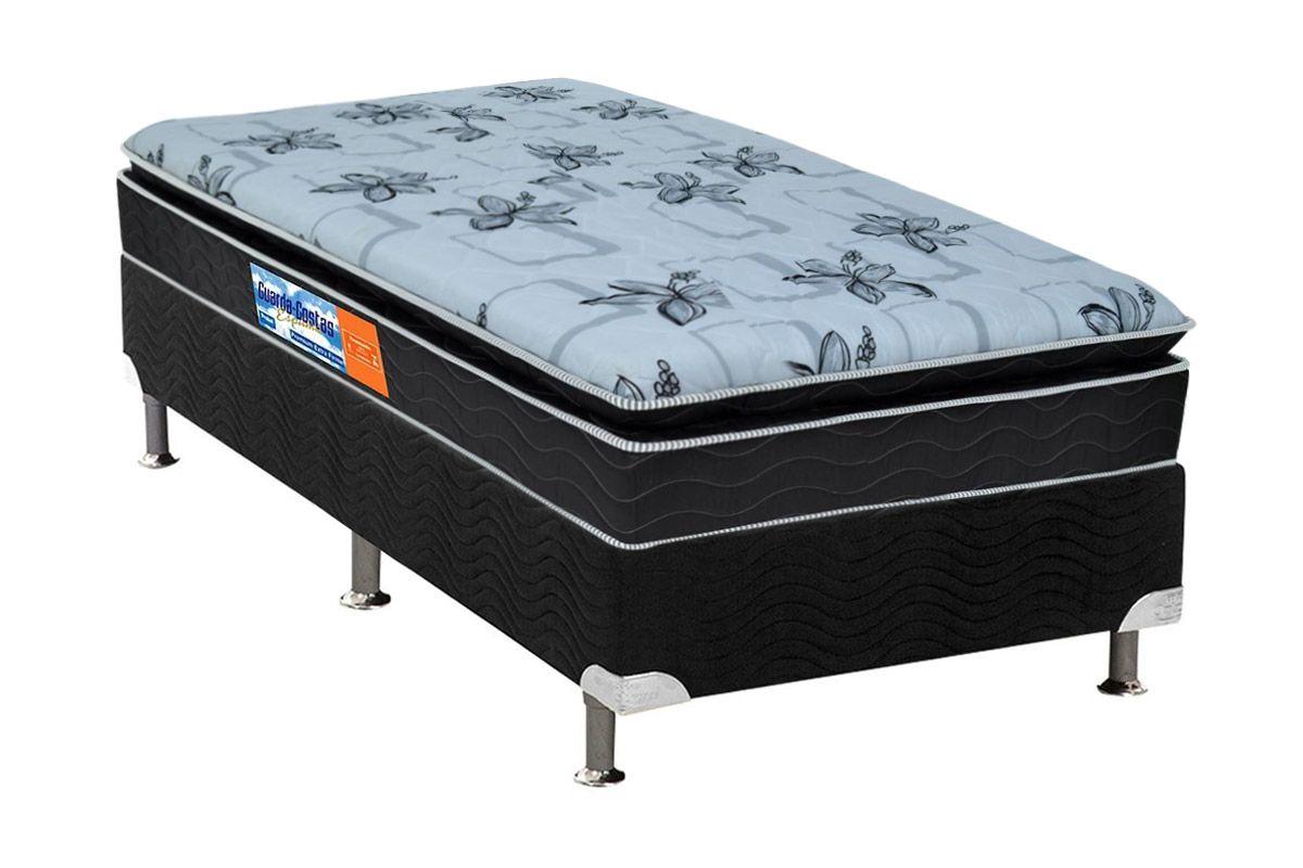 Conjunto Cama Box - Colchão Probel de Espuma Guarda Costas Premium Multi Firme Pillow Top + Cama Box Universal Nobuck Nero Black