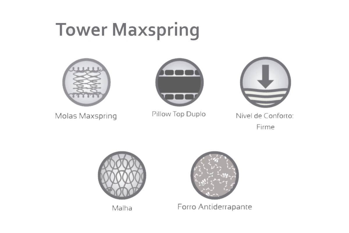 Conjunto Cama Box Baú - Colchão Herval de Molas Maxspring Tower Pillow Top Duplo + Cama Box Baú Nobuck Bege Crema