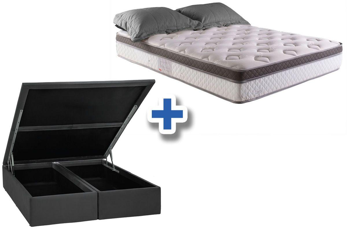 Conjunto Cama Box Baú - Colchão Herval de Molas Pocket Lofty Pillow Top One Side + Cama Box Baú Nobuck Cinza