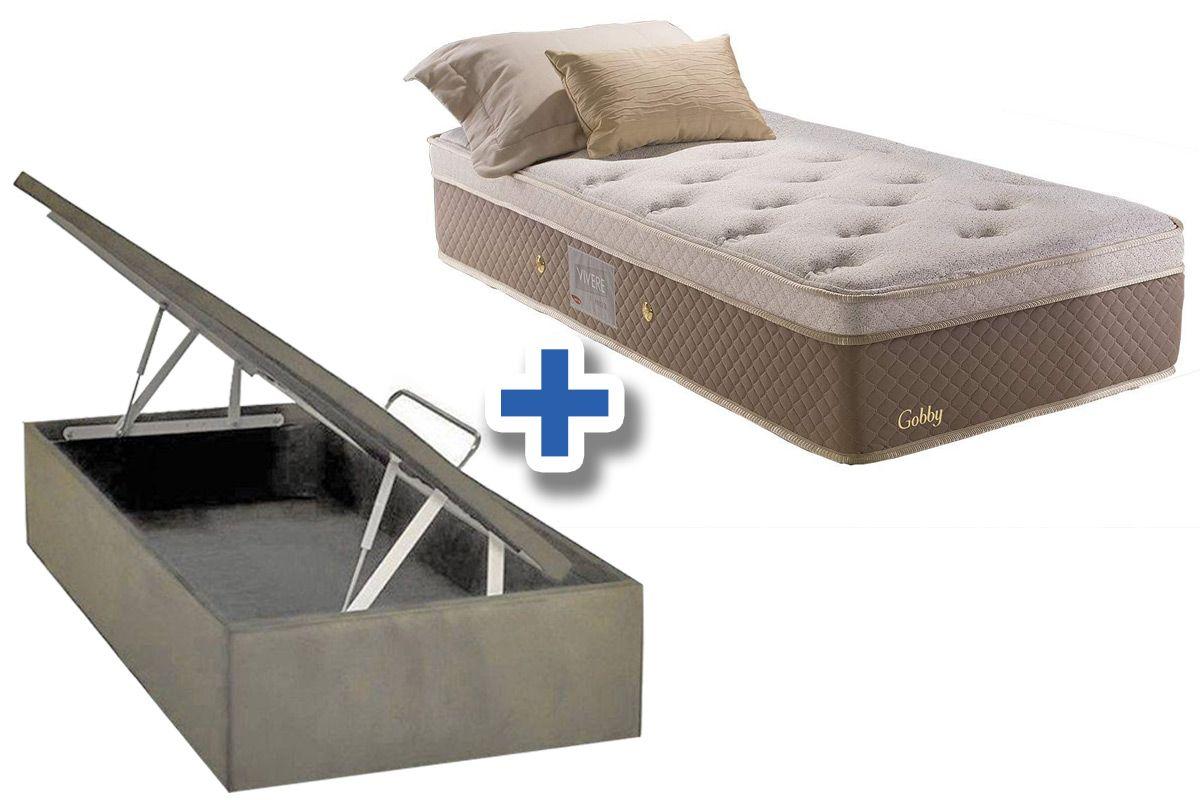 Conjunto Cama Box Baú - Colchão Herval de Molas Pocket Gobby Pillow Top One Side + Cama Box Baú Bege