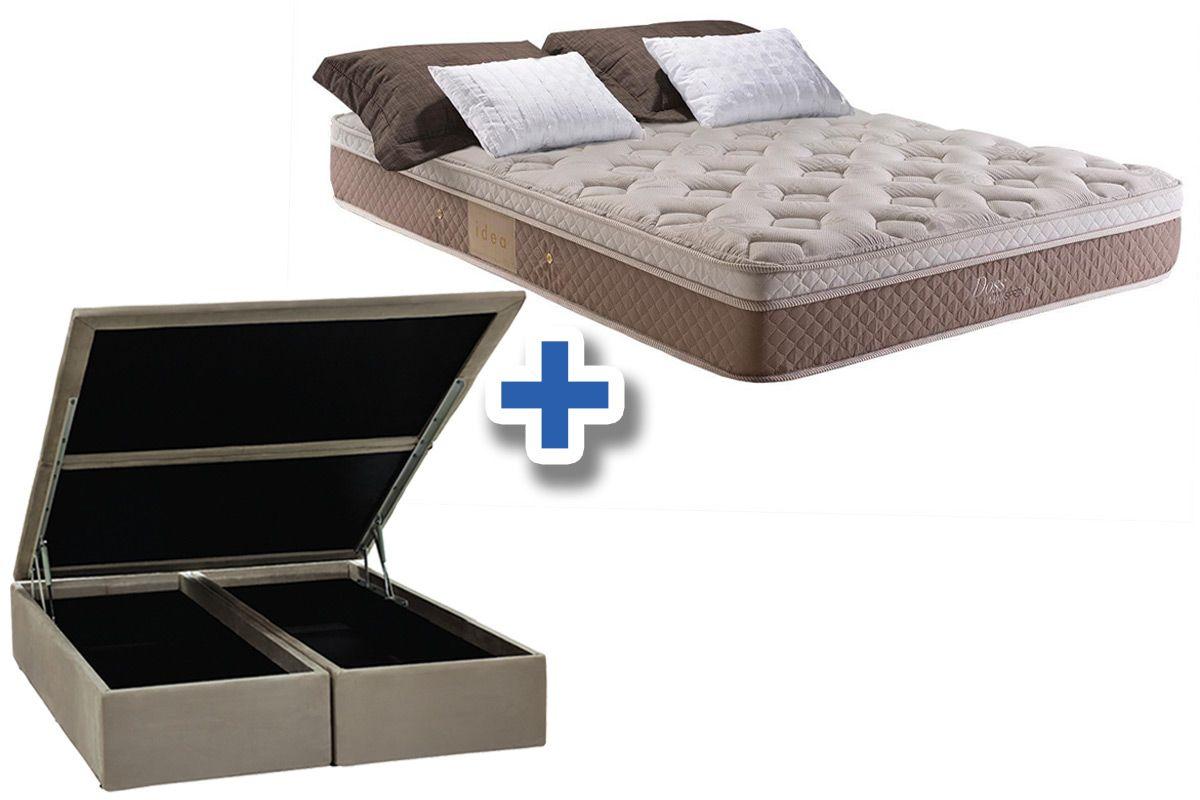 Conjunto Cama Box Baú - Colchão Herval de Molas Maxspring Doss Pillow One Side + Cama Box Baú Nobuck Bege