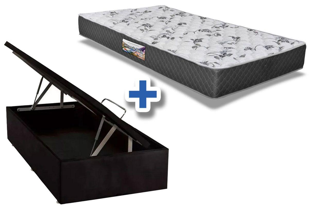 Conjunto Cama Box Baú - Colchão Herval de Espuma Ortopédica Ortopedic Black 17cm + Cama Box Baú Nobuck Nero Black