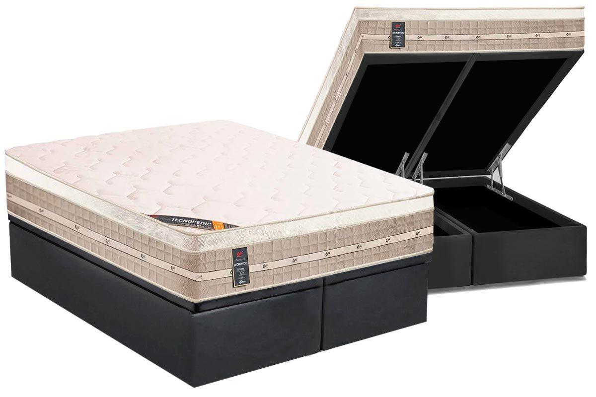 Conjunto Baú - Colchão Castor Molas Bonnel Premium Tecnopedic + Cama Box Baú Umiversal CRC Camurça Grey