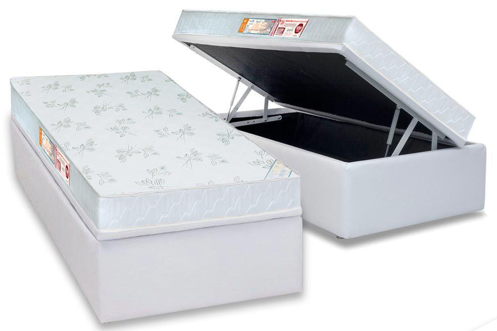 Conjunto Baú - Colchão Castor de Espuma D33 Sleep Max Relax  + Cama Box Baú Universal CRC Courino White