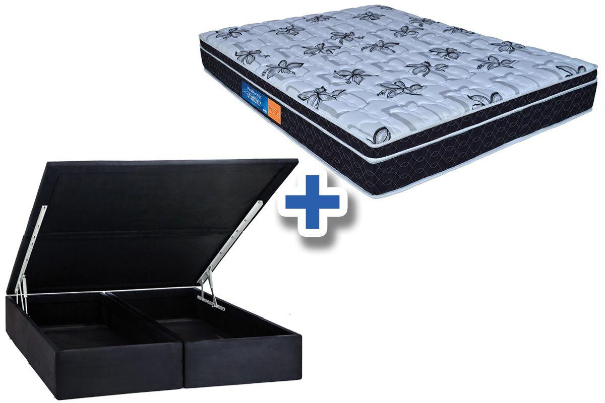 Conjunto Cama Box Baú - Colchão Probel de Espuma D33 ProDormir Senior Mega Resistente + Cama Box Baú Nobuck Nero Black