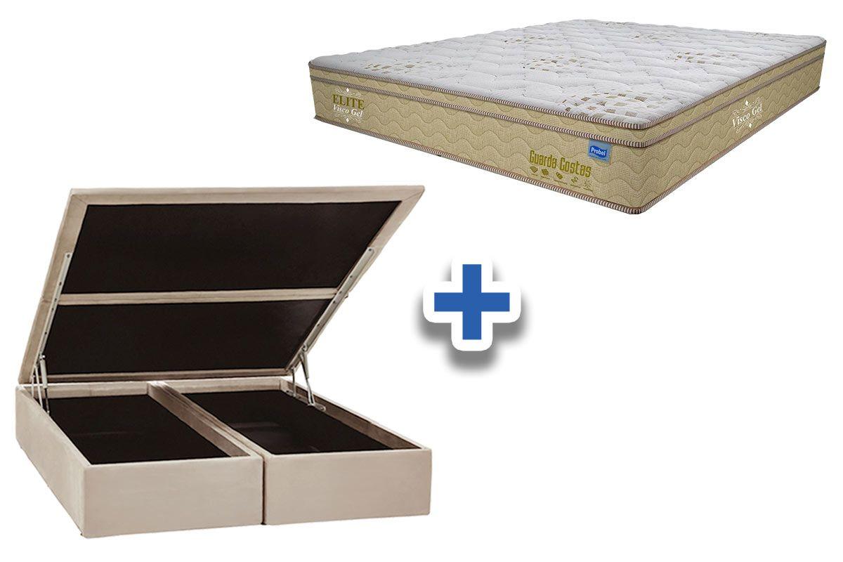 Conjunto Cama Box Baú - Colchão Probel de Molas Pocket Guarda Costa Elite Viscoelástico Euro Pillow + Cama Box Baú Nobuck Bege