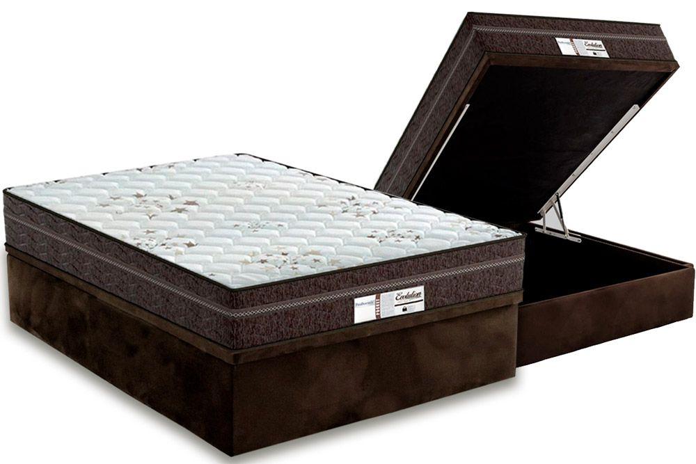 Conjunto Cama Box Baú - Colchão Probel de Molas Pocket ProDormir Evolution + Cama Box Baú Universal CRC Camurça Brown