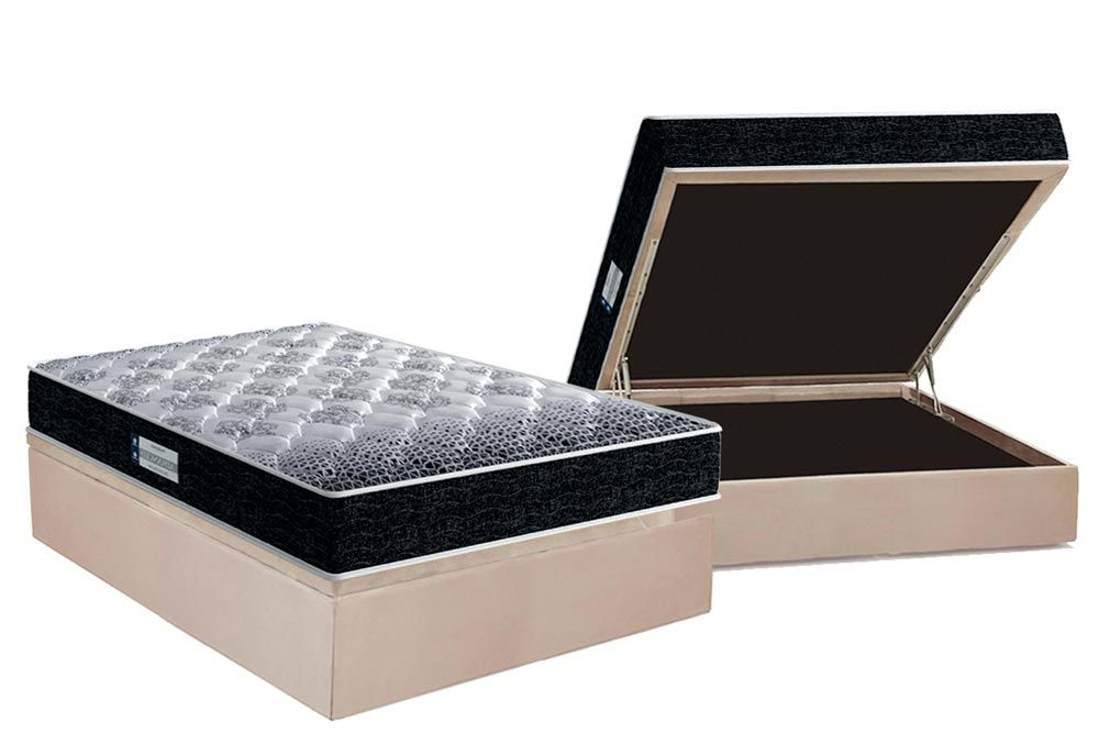 Conjunto Cama Box Baú - Colchão Probel de Espuma D33/20 Firmepedic ProDormir Advanced Tech1500 DF + Cama Box Baú Universal CRC Camurça Clean