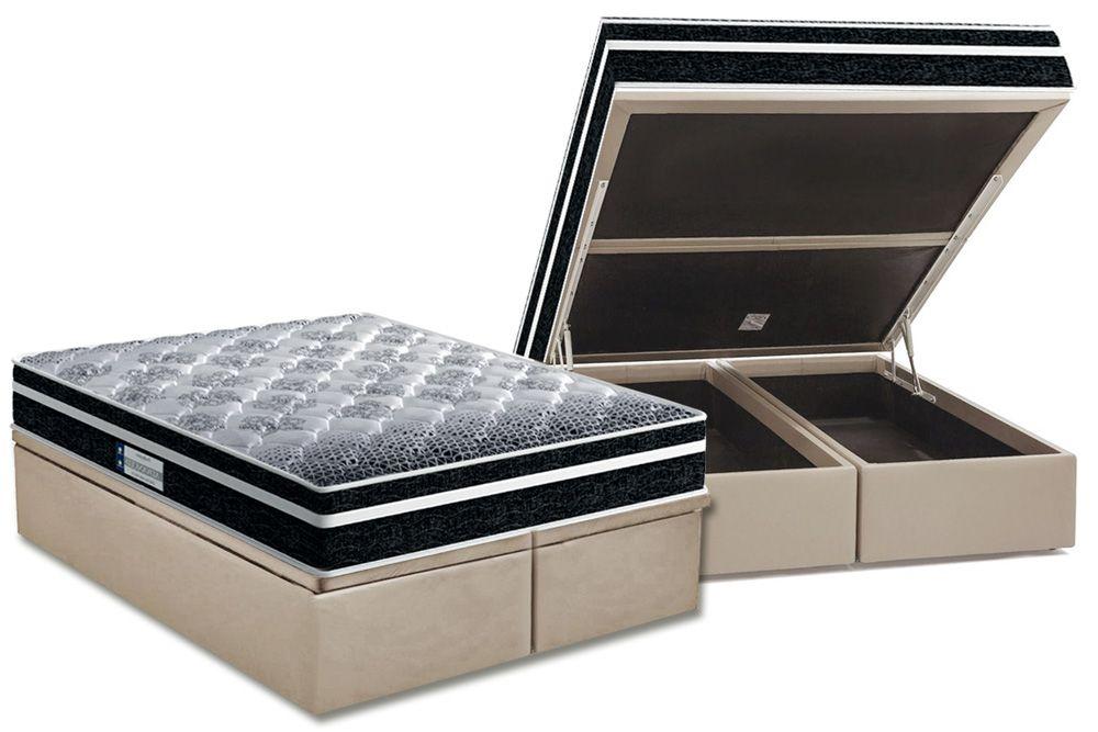 Conjunto Cama Box Baú - Colchão Probel de Espuma D33 ProDormir Advanced Extra Firme Plus + Cama Box Baú Universal CRC Camurça Clean