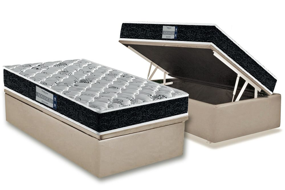 Conjunto Cama Box Baú - Colchão Probel de Espuma D45 ProDormir Advanced Plus + Cama Box Baú Nobuck Bege