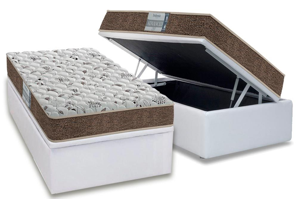 Conjunto Cama Box Baú - Colchão Probel de Espuma D45 ProDormir Advanced + Cama Box Baú Courino Bianco
