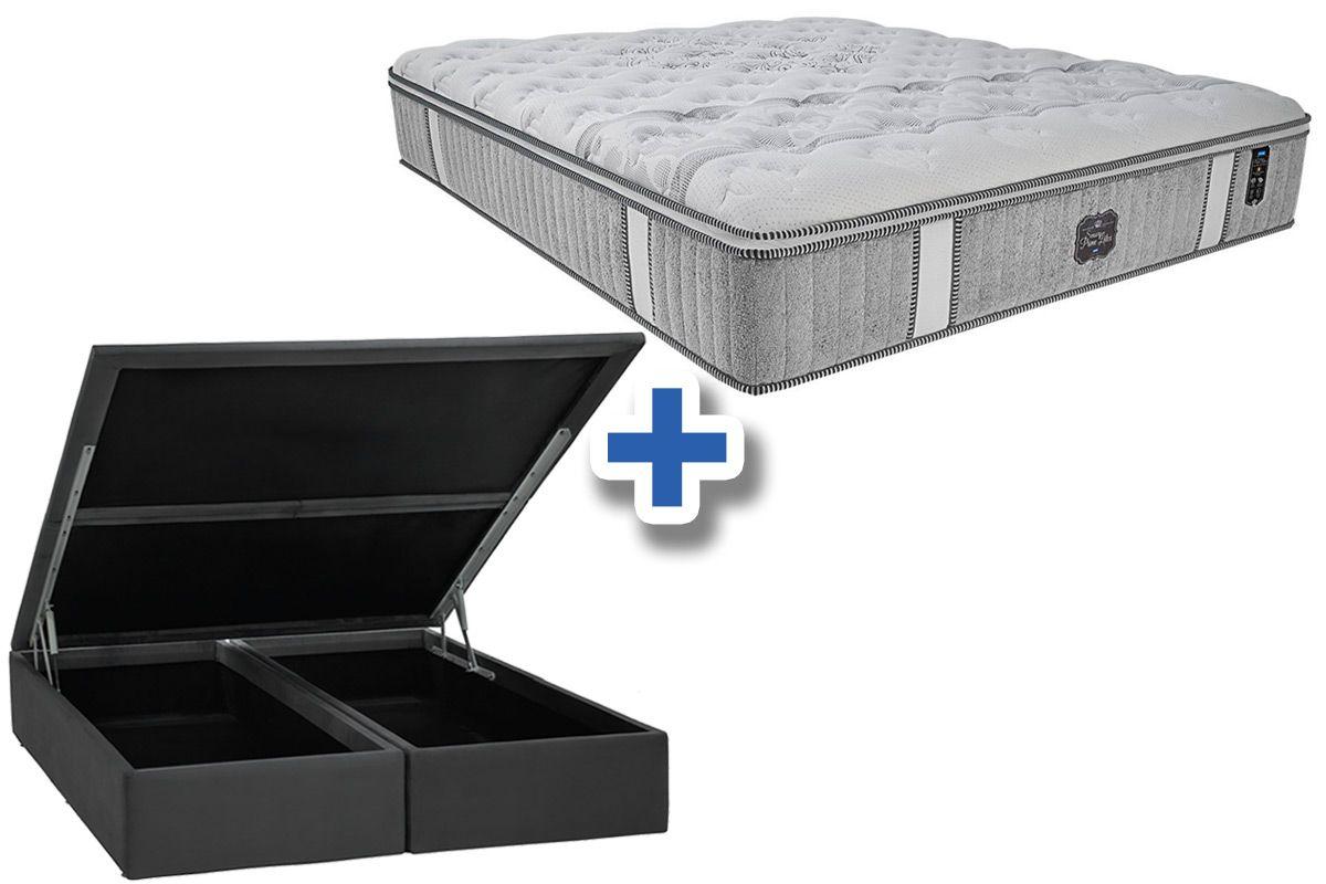 Conjunto Cama Box Baú - Colchão Probel de Molas Pocket Sensory Prime Látex Pillow Euro + Cama Box Baú Nobuck Cinza
