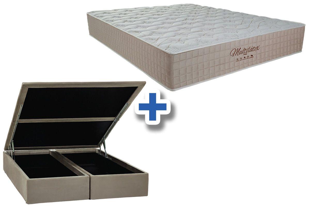 Conjunto Cama Box Baú - Colchão Probel de Molas Pocket Multilátex + Cama Box Baú Nobuck Bege