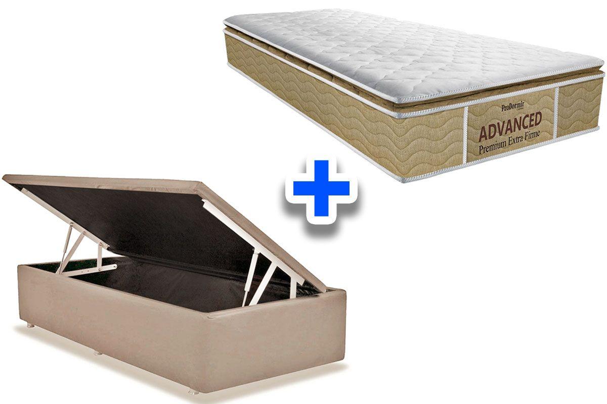 Conjunto Cama Box Baú - Colchão Probel de Espuma ProDormir Advanced Premium Extra Firme Pillow Top + Cama Box Baú Nobuck Bege