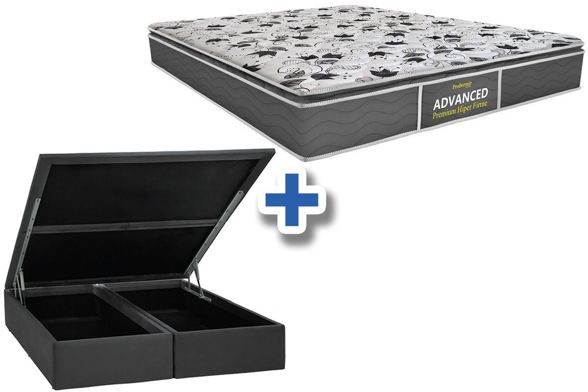 Conjunto Cama Box Baú - Colchão Probel de Espuma ProDormir Advanced Premium Hiper Firme Pillow Top + Cama Box Baú Nobuck Cinza