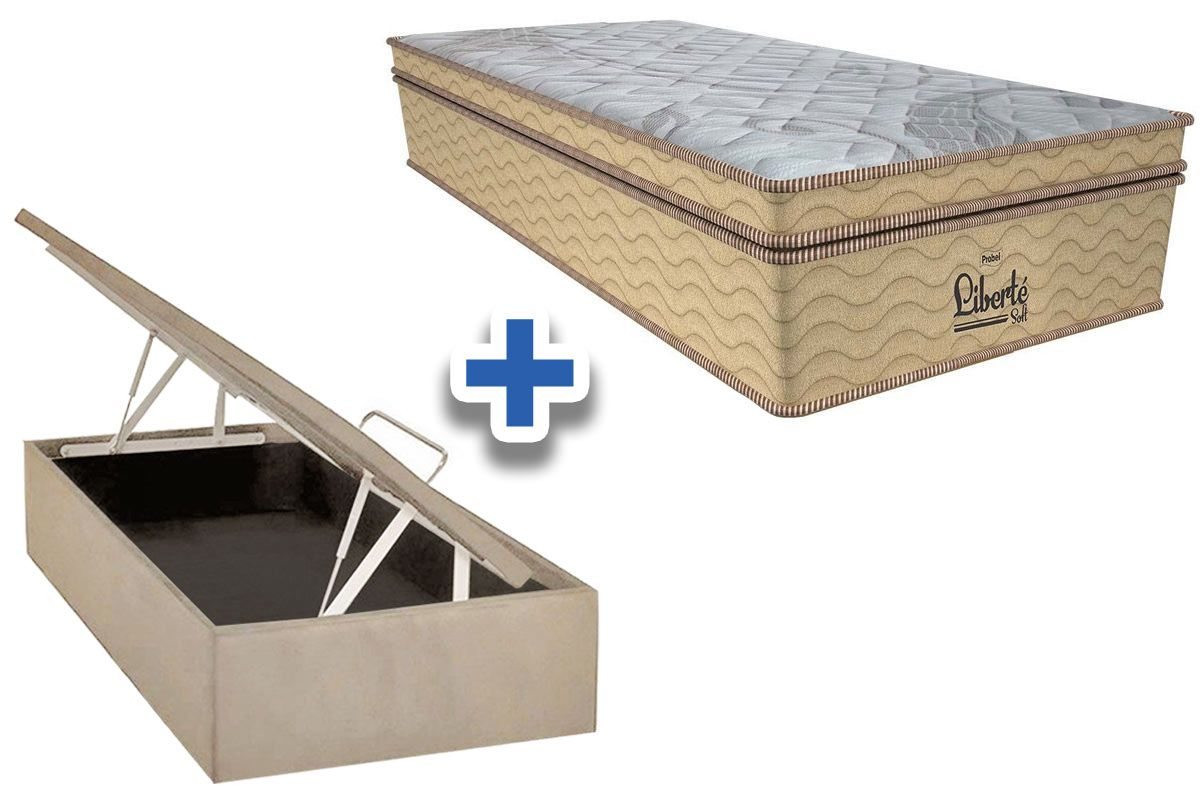Conjunto Cama Box Baú - Colchão Probel de Mola Pocket Liberté Soft Pillow Euro + Cama Box Baú Nobuck Bege