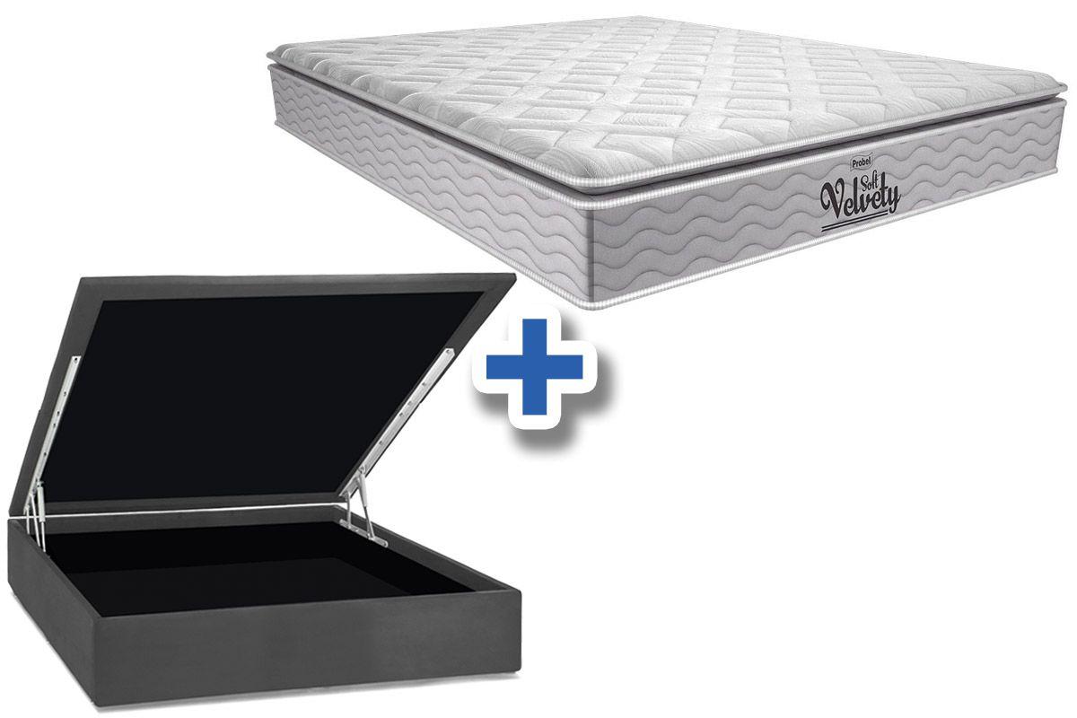 Conjunto Cama Box Baú - Colchão Probel de Mola Pocket Velvety Soft Pillow Top + Cama Box Baú Nobuck Cinza