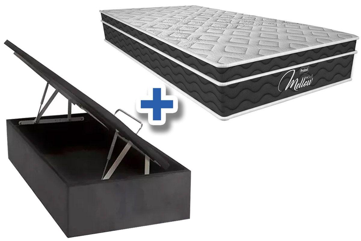 Conjunto Cama Box Baú - Colchão Probel de Mola Pocket Mellow Soft Pillow Euro + Cama Box Baú Nobuck Cinza