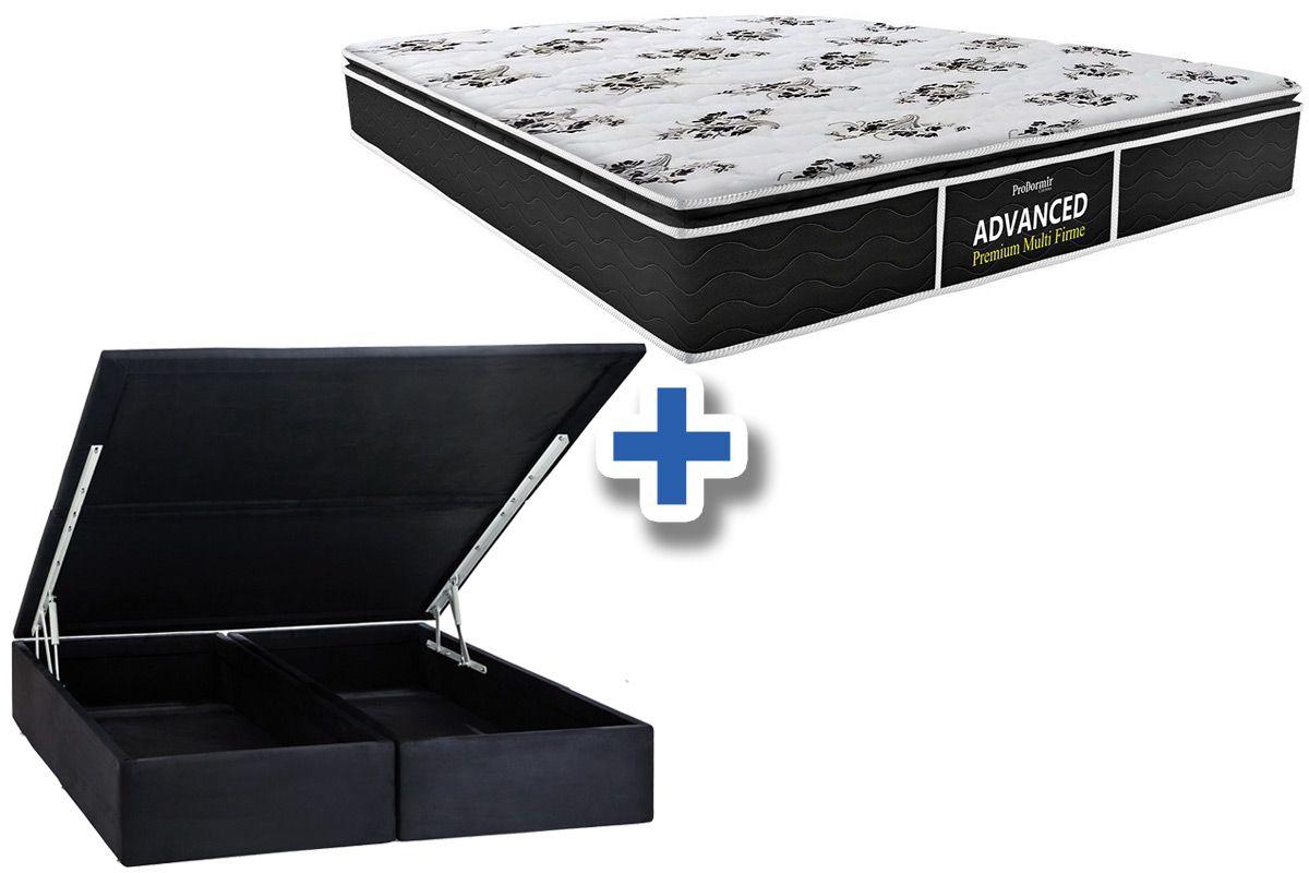 Conjunto Cama Box Baú - Colchão Probel de Espuma D28 ProDormir Advanced Premium Multi Firme Pillow Top + Cama Box Baú Nobuck Nero Black