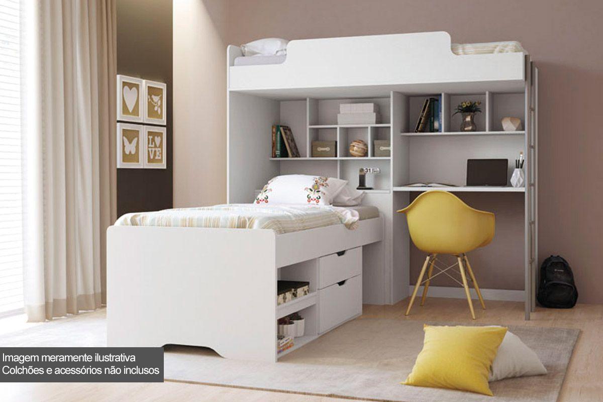 Beliche c/ Escrivaninha Office New + Cama Juvenil Santos Andirá (Módulo Office+Cama Conect  c/ 2 Gavetas)