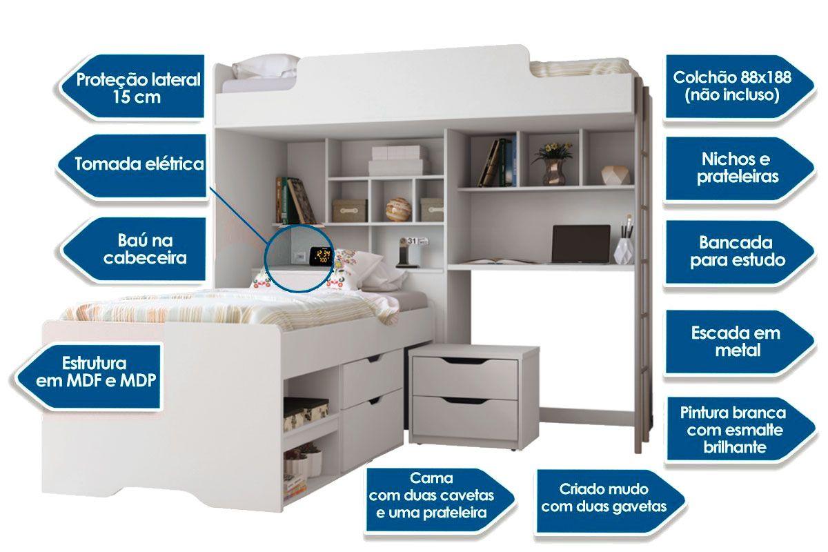 Módulo Office New+Cama Conect c/ 2 Gavetas e Mesa de Cabeceira
