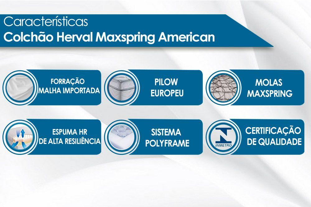 Conjunto 4 em 1 (Cama Box + Baú + Cama Auxiliar Courino Bianco Ortobom) + (Colchão Herval Maxspring American)