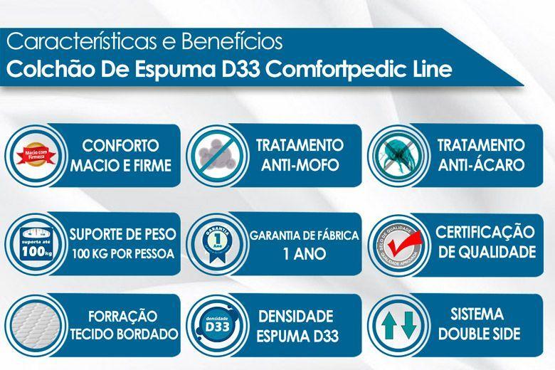 Conjunto 4 em 1 (Cama Box + Baú + Cama Auxiliar Courino Bianco Ortobom) + (Colchão Orthoflex D33 Comfortpedic Line)