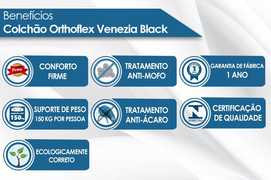 Conjunto 4 em 1 (Cama Box + Baú + Cama Auxiliar Courino Nero Black Ortobom) + (Colchão Orthoflex Bonnel Venezia Black)