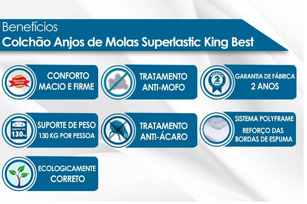 Conjunto 4 em 1 (Cama Box + Baú + Cama Auxiliar Courino Bianco Ortobom) + (Colchão Anjos Superlastic King Best)