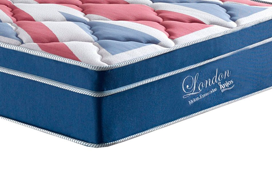 Conjunto Cama Box - Colchão Anjos de Molas Superlastic London Euro Pillow - Cama Box Universal Courino Branco