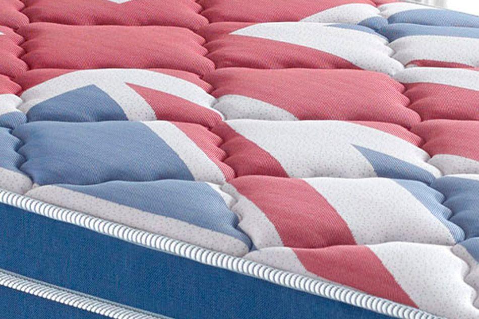 Conjunto Cama Box - Colchão Anjos de Molas Pocket London Euro Pillow + Cama Box Universal Courino Branco