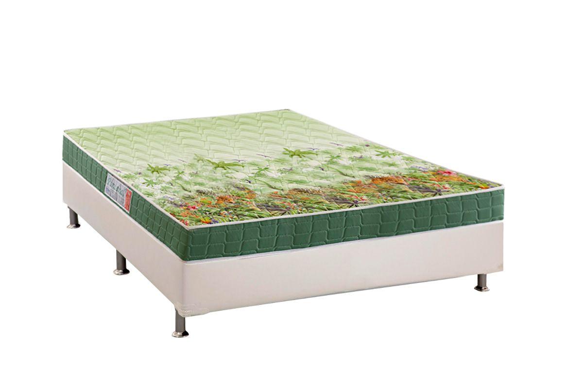 Conjunto Cama Box - Colchão Anjos de Espuma Ortopédica Pantanal + Cama Box Universal Courino Branco