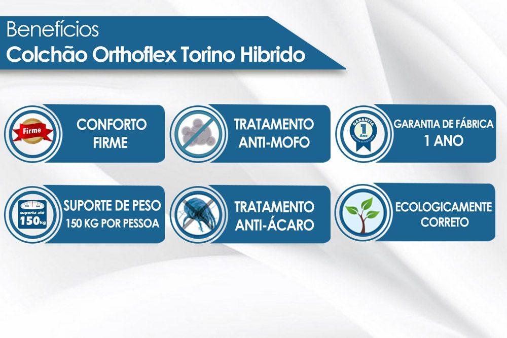 Conjunto Cama Box - Colchão Orthoflex de Molas Pocket Torino Hibrido Euro Pillow + Cama Box Universal Nobuck Bege Crema