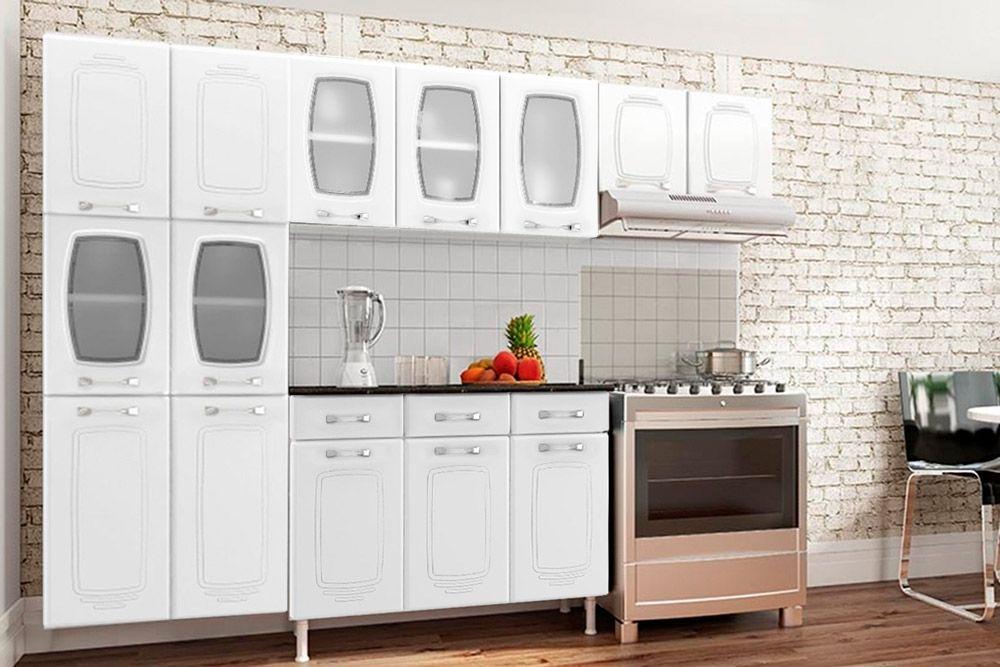 Cozinha Completa Telasul Novitá de Aço c/ 4 Peças (Paneleiro + Gabinete + 2 Aéreos) COZ103