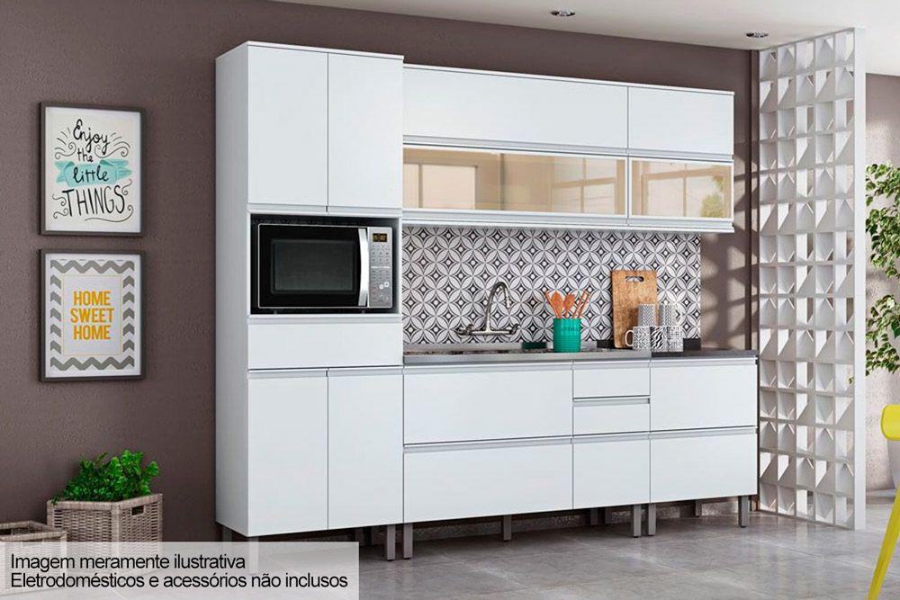 Cozinha Completa Itatiaia Belíssima Plus de Madeira c/ 7 Peças (1 Paneleiro + 2 Armários+ 2 Gabinetes) Kit CZ83
