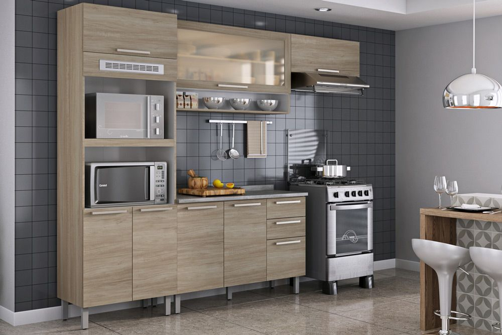 Cozinha Completa Itatiaia Fluence de Madeira c/ 4 Peças (1 Paneleiro + 2 Armários+ 1 Gabinetes) Kit CZ88
