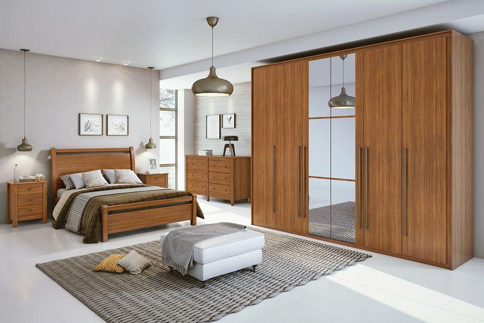 Dormitório Lopas Reali New c/ 4 Peças (Roupeiro+Cama+Mesa+Cômoda) c/Espelho Kit QC01