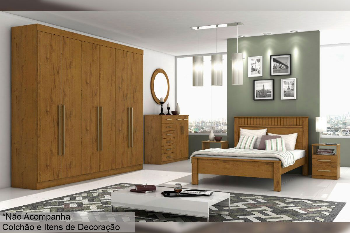 Dormitório Lopas Castellaro c/ 4 Peças (Roupeiro+Cama+Mesa+Cômoda) s/Espelho Kit QC04