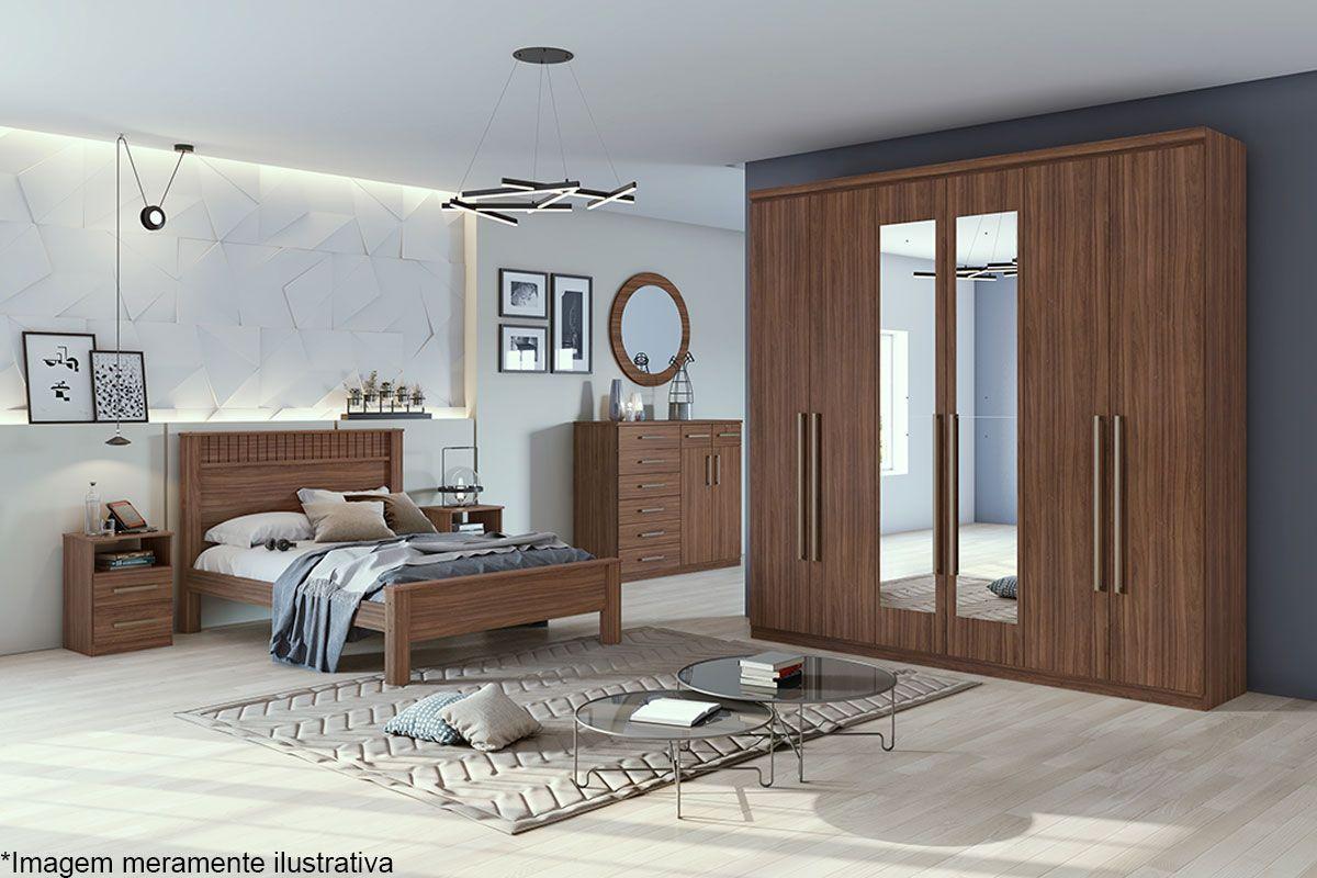 Dormitório Lopas Alonzo New c/ 4 Peças (Roupeiro+Cama+Mesa+Cômoda)c/Espelho Kit QC05