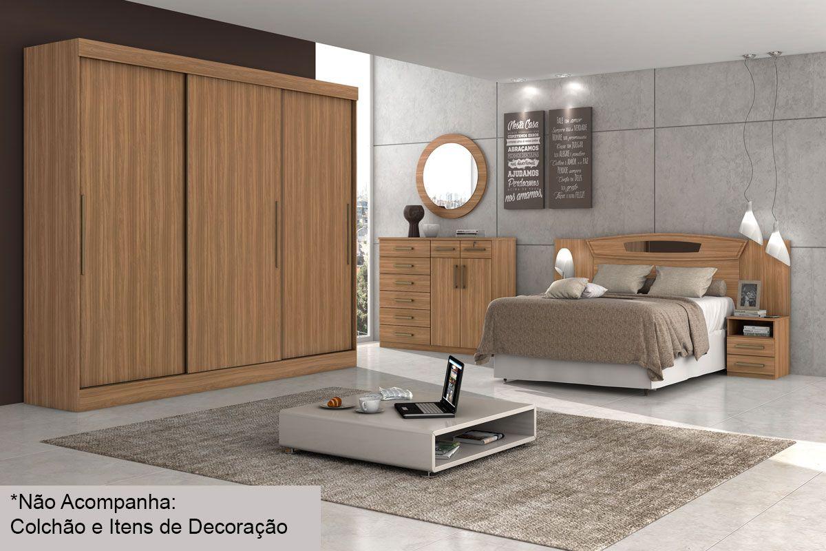 Dormitório Lopas Montebello 3 Portas c/ 4 Peças (Roupeiro+Cama+Mesa+Cômoda) s/Espelho Kit QC06