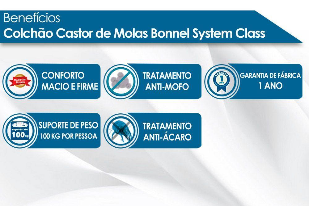 Conjunto Box Baú - Colchão Castor de Molas Bonnel Class New One Face + Cama Box Baú Courino Black