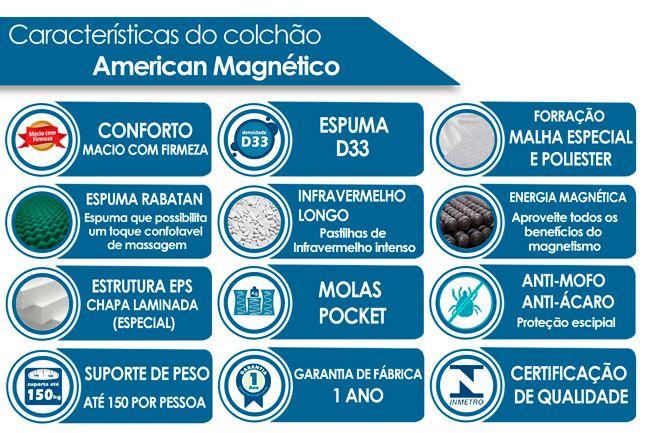 Conjunto Cama Box- Colchão Magnético Infravermelho American + Cama Universal Nobuck Marrom