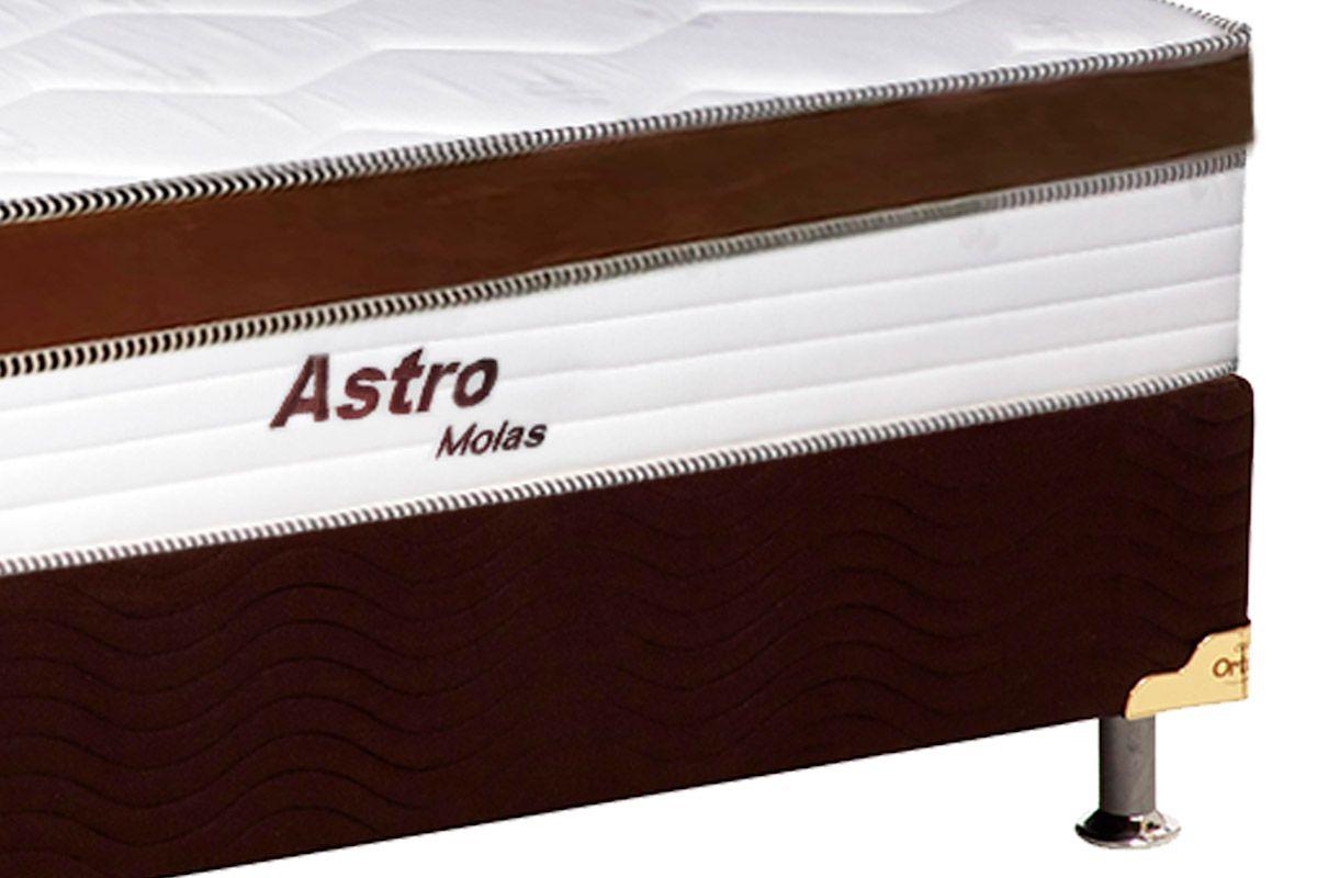 Conjunto Cama Box- Colchão de Molas Pocket Astro Europilow  + Cama Universal Nobuck Marrom