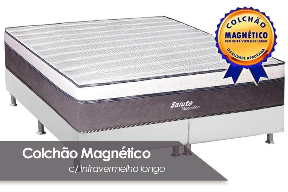 Conjunto Cama Box- Colchão Magnético Infravermelho Salute + Cama Universal Courino Branco