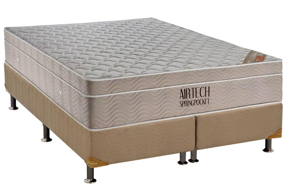 Conjunto Cama Box -  Colchão Ortobom Molas Pocket Fort Airtech Spring + Cama Box Universal Nobuck Bege Crema 30cm